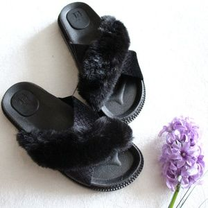 NEW Joe's Jeans Black Faux Fur Casual Slides Sz 6